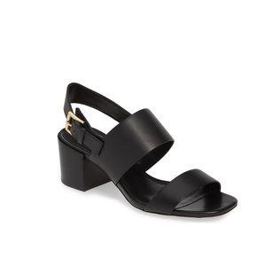 New Michael Korda Black Leather Sandals (8.5)